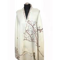 WOMEN'S SHAWL MADE OF EMBROIDERED WOOL CREAM