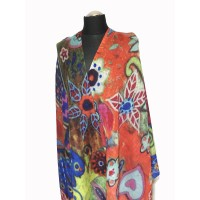 WOMEN'S PRINT WOOL SCARF COLORFUL FLOWERS, RED